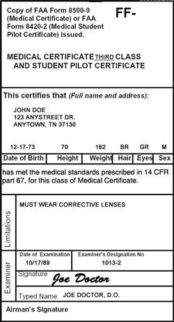 Медицинский сертификат третьего класса/Лицензия пилота-курсанта